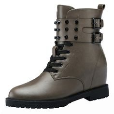 Kiwii Women Fashion Casual Lace Up Blet Rivet Buckle Mid Top Increased Within Ankle High Boot Shoes -- Additional details found at the image link  : Desert boots
