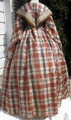 1860s Brown Plaid Silk Dress Partial 2nd Bodice Pelerine or Fichu Pagoda Sleeves | eBay