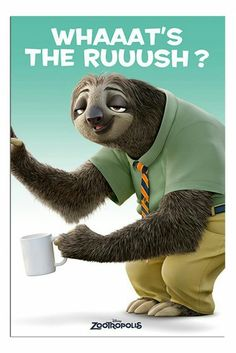 Zootropolis Flash Whats The Rush Sloth Poster Magnetic Notice Board Black Framed - x 66 cms (Approx 38 x 26 inches) Cute Baby Sloths, Cute Sloth, Cute Baby Animals, Baby Otters, Wild Animals, Disney Humor, Funny Disney Memes, Funny Memes, Zootopia Sloth