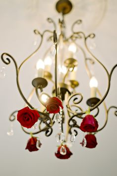 "Rose Embellished Chandelier| Elegant {Pink, Red, Black & Gold}""Pretty Woman"" Valentine's Wedding Inspiration