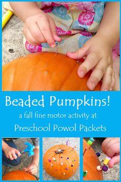 What a great idea!  Beaded Pumpkins -- a fall fine motor activity!