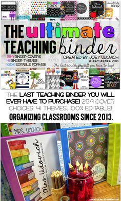 Teaching Binder / The ULTIMATE in classroom organization! This truly will be the LAST teaching binder you will ever have to purchase...and it is SUPER affordable! 259 covers, 41 themes, 100% editable calendars, CCSS, and Excel grade book and lesson planning pages! Black and white printing options are provided in every aspect of your purchase, and editing couldn't be easier! Check it out!!