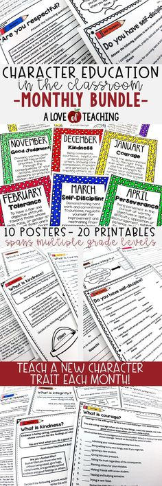 Teach your students important life skills with this Character Education in the Classroom MONTHLY Bundle which includes 10 classroom posters and 20 printables for students. This product includes a character trait for each month (10 in all), description of the trait, and 2 worksheets to reinforce the character trait lesson.