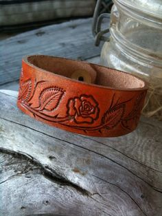 Leather Rose Wristband - Hand Tooled - Red Tan - Bracelet on Etsy, $18.00