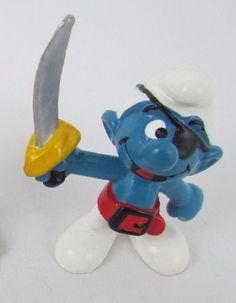 Vtg Smurfs Peyo PIRATE Smurf 20104 Schleich W GERMANY PVC Figurine Toy Bully #Schleich