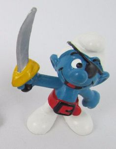 Vtg Smurfs Peyo PIRATE Smurf 20104 Schleich W GERMANY PVC Figurine Toy Bully #Schleich