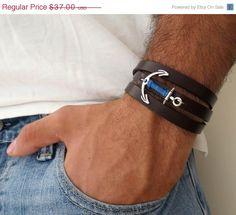 ON SALE 20 OFF Men's Bracelet  Black Leather Bracelet by Galismens