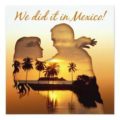 Mexico Beach Couple Wedding Reception Card
