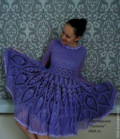 """Купить Платье """"Куколка"""" - сиреневый, вязаное платье, купить вязаное платье, купить платье из мохера"""