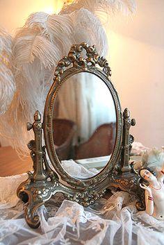 Boudoir: Ornate silver #vanity #mirror.
