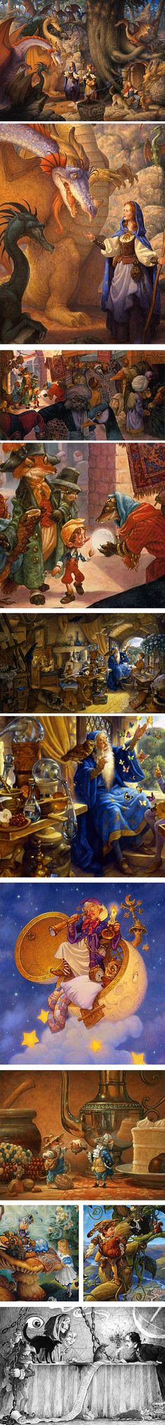 Scott Gustafson, illustrator.  One of the best... I love his illustrations, books... the details.. they make old stories new!