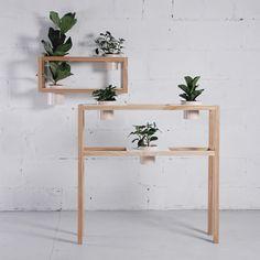 HG stand set 1 by Designer: Dariya Stadnichenko. Industrial Design Furniture, Furniture Design, Ecole Design, Plant Shelves, Wall Shelves, Shelf, Console, Wood Sample, Rug