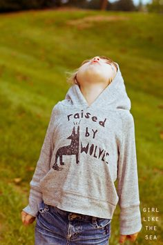 Raised by wolves sweater with Downloadable Template for the graphics- girl like the sea