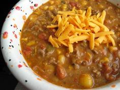 Taco Soup - a diff version ---- with pinto beans, hominy, cream-syle corn....