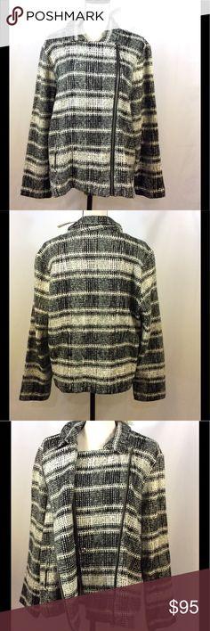 LUCKY Brand Women's Plaid Moto Sweater Jacket # NEW with tags. LUCKY Brand Women's Plus Size 2x Black White Plaid Moto Sweater Jacket.In excellent condition. Lucky Brand Jackets & Coats