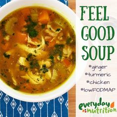 Feel good soup, low fodmap with chicken, ginger, turmeric Soup Recipes, Diet Recipes, Cooking Recipes, Healthy Recipes, Potato Recipes, Diet Tips, Vegetarian Recipes, Fodmap Diet, Low Fodmap