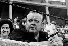 Spain. Orson Welles at the bullring in San Fermin Festival, Pamplona, 1954