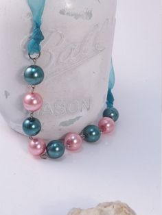 Peacock blue/green and baby pink pearl Necklace by gr8byz