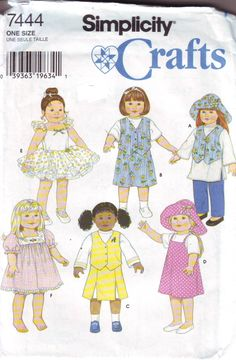 """American Girl size Clothing Pattern for 18"""" dolls such as American Girl is in Unused Condition from Simplicity. 1996 by DelightfulDolly on Etsy"""