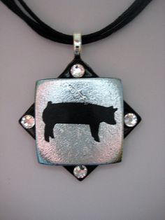 Show pig dichroic glass pendant necklace livestock by hopthefence, $23.00