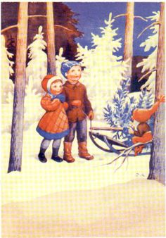 Vintage Rudolf Koivu Christmas Card ~ Orange Accents
