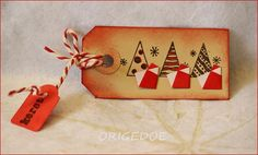 Christmas tag from origedoe blog ... delightfully simple Santa origami figures ... Santa Origami, Origami Christmas, Christmas Tag, Tags, Simple, Blog, Decor, Decoration, Decorating