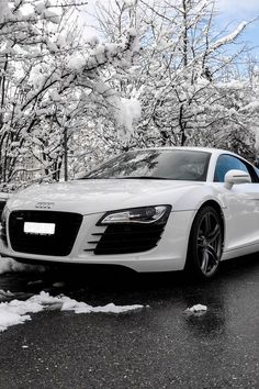 White Audi In The Snow car car pictures audi auto vehicles vehicle pictures white audi