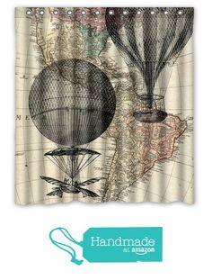 Hot Air Balloon Vintage Map Shower Curtain - Hot Air Balloon Bath Decor - Shabby Chic Shower Curtain - Vintage Map Home Decor - Bathroom Inexpensive Home Decor, Cheap Home Decor, Shabby Chic Shower Curtain, Shower Curtains, Interior Design Tips, Interior And Exterior, Balloon Curtains, Bath Decor, Hot Air Balloon