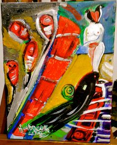 Self-taught south Texas outsider artist Lori Holbrook. Whimsical, bold and sometimes darkly introspective.. $65.00, via Etsy.