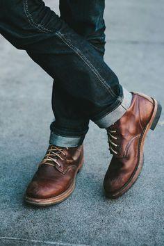 Brown Boots - Men's style, accessories, mens fashion trends 2020 Style Casual, Men Casual, Style Men, Men's Style, Work Casual, Casual Boots For Men, Guy Style, Men's Shoes, Shoe Boots