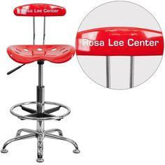 iHome Brittany Personalized Red & Chrome Professional Drafting Multipurpose Stool w/Tractor Seat