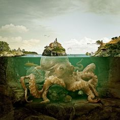 Octomagnetic , octopus , kraken , giant sea creature , underwater , painting, illustration , fantasy