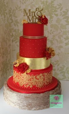 """I must say I think it is one of the nicest cakes I have made to date. It was tall + the 4 """" topper. The bottom tier was vanilla sponge filled with vanilla buttercream. The cake was covered with red fondant and decorated with gold edible lace. Wedding Cake Images, Wedding Cake Red, Indian Wedding Cakes, Fondant Wedding Cakes, Elegant Wedding Cakes, Beautiful Wedding Cakes, Gorgeous Cakes, Wedding Cake Designs, Pretty Cakes"""