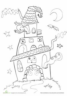 Worksheets: Haunted House Coloring Page Halloween Gif, Halloween Drawings, Theme Halloween, Halloween Patterns, Halloween Craft Activities, Halloween Games For Kids, Halloween Projects, House Colouring Pages, Fall Coloring Pages