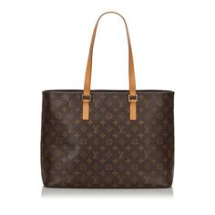 Shop Louis Vuitton Monogram Luco Tote In Black from stores. The Luco features a monogram canvas body, flat leather straps, a top zip closure, and interior zip and slip pockets. Vintage Louis Vuitton, Louis Vuitton Monograme, Pre Owned Louis Vuitton, Louis Vuitton Handbags, Sacs Louis Vuiton, Brown Leather Totes, Tote Bag, Monogram Canvas, 3 D