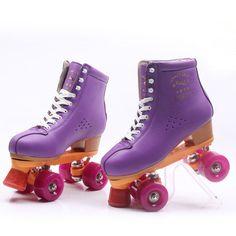 Women Men's Double Line Roller Skates 4 Wheels Quad Roller Skating Shoes Purple | eBay