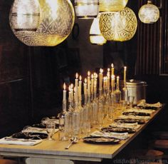 Love the idea of using bottles Instead of candlesticks!