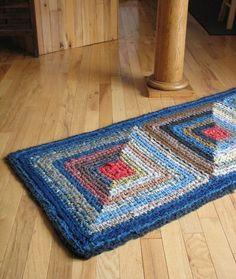 Log Cabin Crocheted  Rug - True Blues via Etsy: