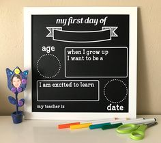 Silhouette Tutorial: First Day of School Chalkboard Sign Silhouette Blog, Wedding Silhouette, Silhouette Projects, Silhouette Design, Silhouette Cameo, Vinyl Crafts, Vinyl Projects, Craft Projects, Paper Crafts