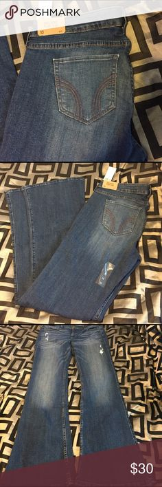 NWT💗Hollister Flare Jeans NWT Hollister Flare size 13 Jeans. Super adorable! Has some factory distress on front as shown! TV: $36 Hollister Jeans Flare & Wide Leg