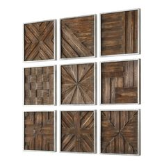 A Collage Of Unique 3-dimensional Pieced Patterns Of Rustic Distressed Fir Wood, Framed In Silver Leaf. Dimensions: 1.25Dx 12.5Wx 12.5H Material: FIR, MDF Weight: 29 Country Of Origin: China Prop 65 warning for CA customers Rustic Wood Walls, Wooden Wall Decor, Wall Decor Set, Wooden Wall Art, Wall Art Sets, Wooden Walls, Rustic Art, Rustic Wood Decor, Wall Wood