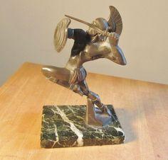 Vintage Bronze Art Deco        R. VARNIER Studebaker Car Mascot Hood Ornament Sculpture Gladiator / Warrior Statue......
