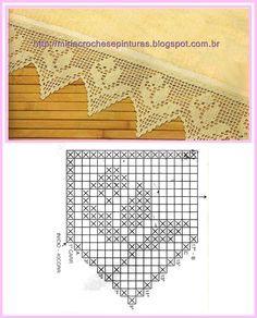Filet Crochet, Crochet Lace Edging, Crochet Borders, Crochet Chart, Thread Crochet, Crochet Patterns Amigurumi, Crochet Stitches, Crochet Curtains, Tapestry Crochet