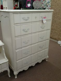 $335 - This country French 5 drawer dresser has been painted a creamy white and distressed. It has all original metal hardware. The top drawer has removable dividers. This test measures 38 inches across the front, 20 inches deep and it stands 51 inches tall. It can be seen in booth H 12 at Main Street Antique Mall 7260 East Main St ( E of Power Rd ) Mesa 85207  480 9241122open 7 days 10 till 530 Cash or charge 30 day layaway also available