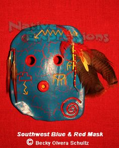 Southwest Blue & Red Clay Mask, © Becky Olvera Schultz