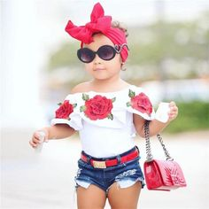 Summer Baby Kids Girls Clothes Flower print sleeveless Ruffle round neck pullover T-Shirts Denim Hole Pants cotton Set(China) Kids Outfits Girls, Kids Girls, Girl Outfits, Girls Dresses, Baby Kids, Toddler Girls, Fashion Kids, Baby Girl Fashion, Denim Pants Outfit