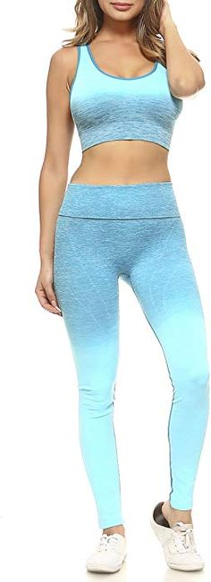 Women's Active Ombre Sports Bra and Leggings Performance Set (Periwinkle, Medium) at Amazon Women's Clothing store: Miss Louisiana, Home Sport, Thing 1, Leggings Are Not Pants, Pants For Women, Skinny Jeans, Periwinkle, Sports, Clothes