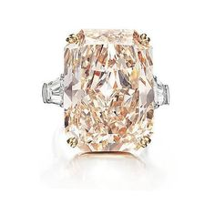 Champagne Diamond Ring Flanked With White Diamonds Either Side Set In Platinum