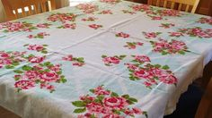 GORGEOUS, SHABBY CHIC, Mid Century 1960 Vintage Table Cloth, Rectangle 63 X 49 inch, White w/ Light Blue Border, Red & Pink Roses w/ Leaves