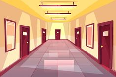 Buy Vector Cartoon Hallway, Corridor with Many Doors by vectorpouch on GraphicRiver. Vector cartoon hallway, corridor with many doors – college, university or office building. The bright place with illu. Episode Backgrounds, Abstract Backgrounds, Cartoon Background, Background Patterns, Casa Anime, Modern Classroom, Architecture Background, Concept Architecture, Rustic Wooden Table